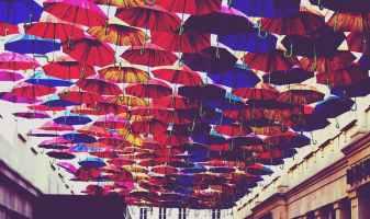 red blue and orange umbrella lot